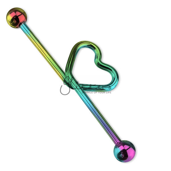 Rainbow Titanium I.P over Surgical Steel Heart shape in the middle Industrial Barbell-Glitters-New Zealand