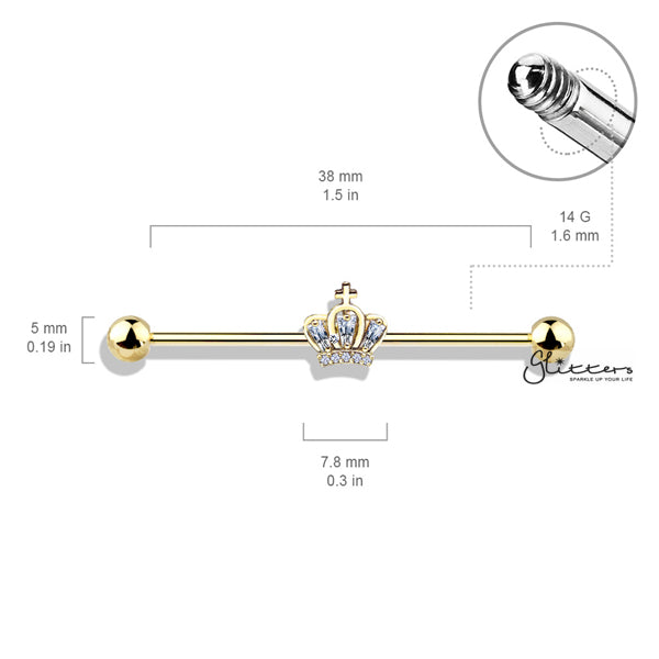 316L Surgical Steel Industrial Barbells with CZ Paved Crown-Glitters-New Zealand