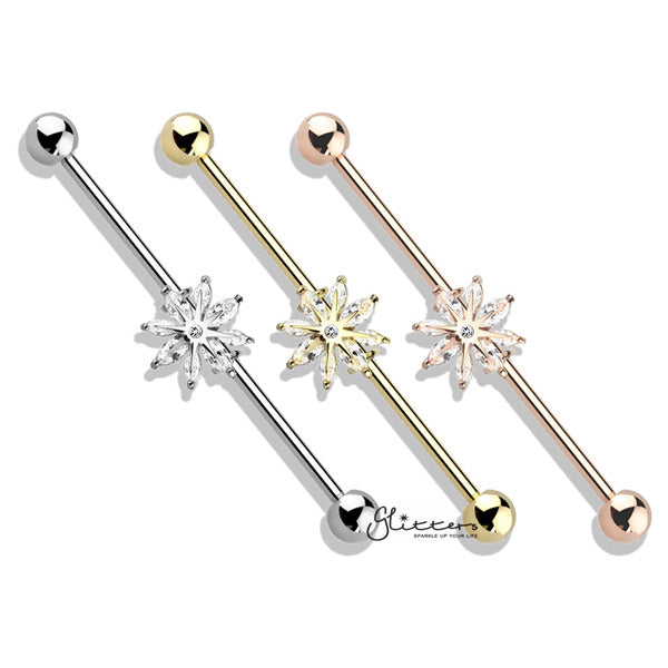 316L Surgical Steel Industrial Barbells with Marquise CZ Snowflake