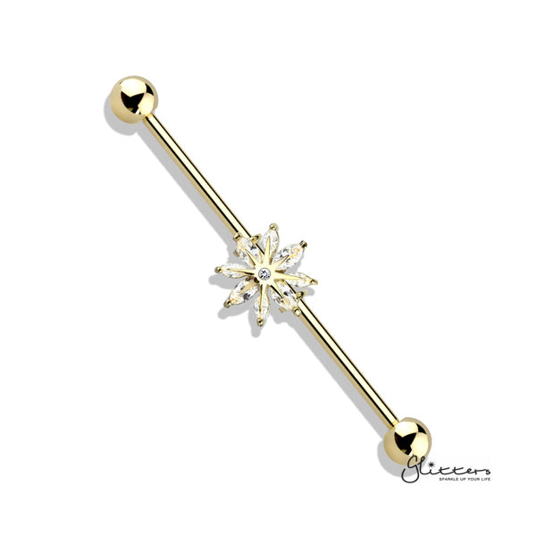 316L Surgical Steel Industrial Barbells with Marquise CZ Snowflake-Glitters-New Zealand