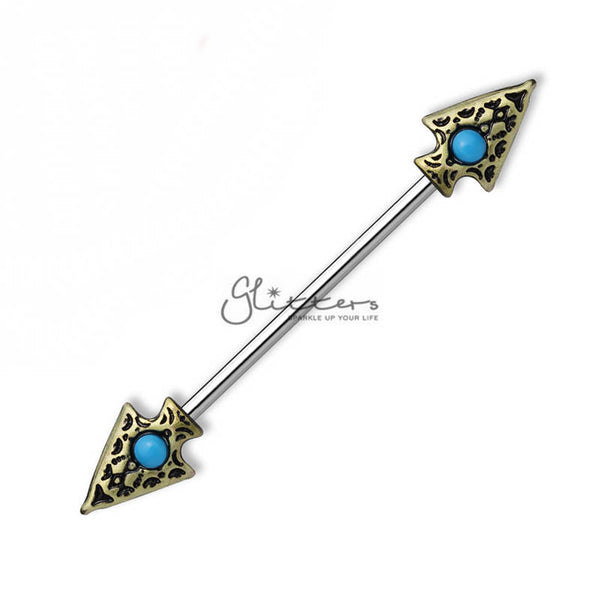 14GA 316L Surgical Steel Turquoise set Tribal Spear on Both sides Industrial Barbells-Glitters-New Zealand