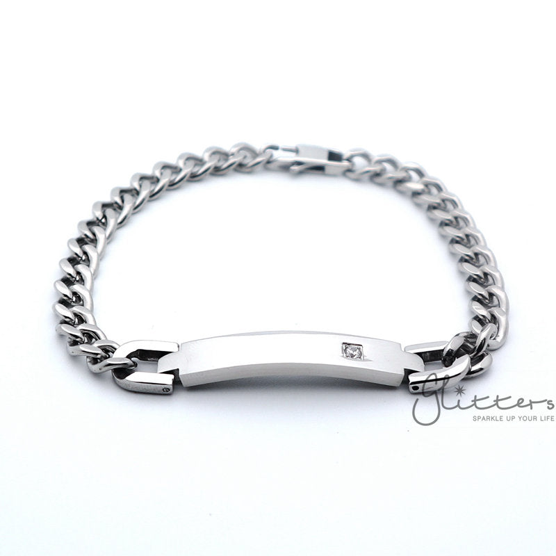 Stainless Steel Men's ID Bracelet with A Cubic Zirconia Stone + Engraving-Glitters-New Zealand