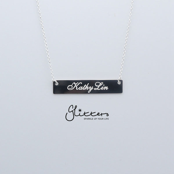 Personalized Sterling Silver Horizontal Name Bar Necklace - Medium-Glitters-New Zealand