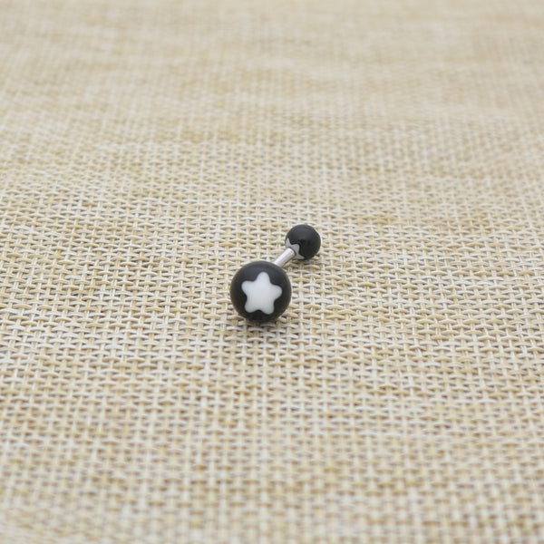 14 Gauge Acrylic Flower Balls Belly Button Ring - White-Glitters-New Zealand