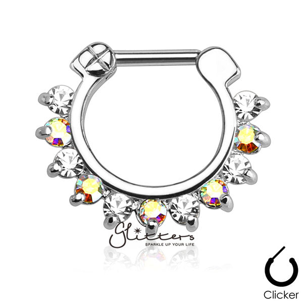 316L Surgical Steel Single Line Pronged Gems Septum Clicker-AB/Clear-Glitters