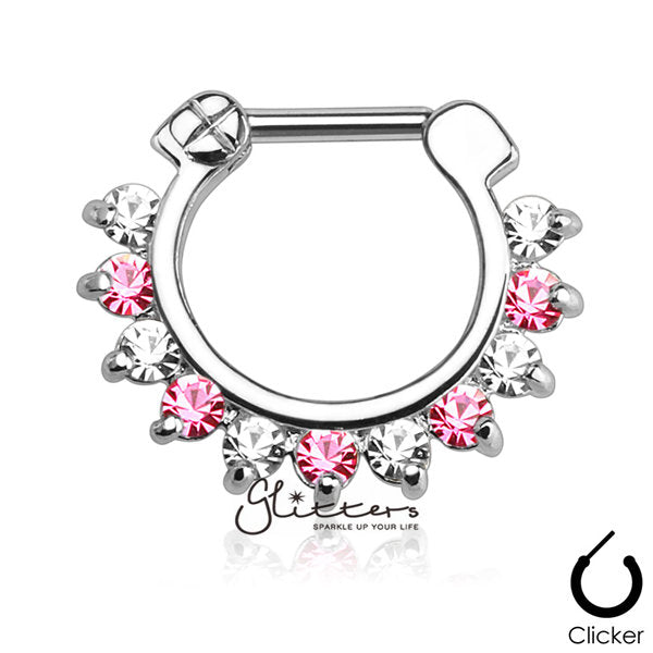 316L Surgical Steel Single Line Pronged Gems Septum Clicker-Pink/Clear-Glitters-New Zealand