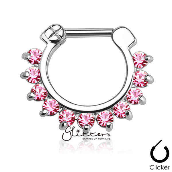 316L Surgical Steel Single Line Pronged Gems Septum Clicker-Pink-Glitters-New Zealand