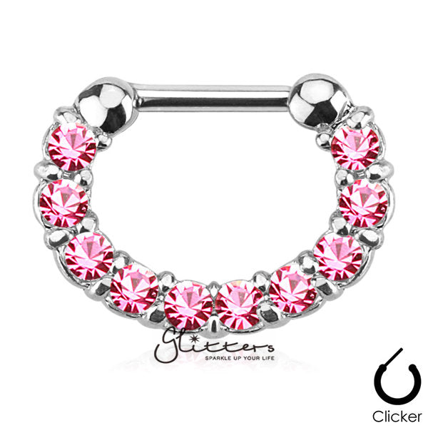 316L Surgical Steel Single Line Paved Gem Septum Clicker-Pink-Glitters-New Zealand