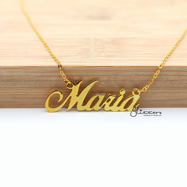 Personalized 24K Gold Plated Sterling Silver Name Necklace-Script 11-Glitters-New Zealand