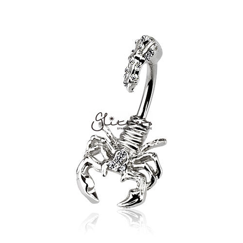 Scorpion with Multi Gemmed Head and Tail Belly Button Ring-Clear-Glitters