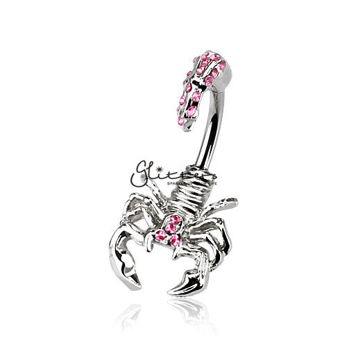 Scorpion with Multi Gemmed Head and Tail Belly Button Ring-Pink-Glitters-New Zealand