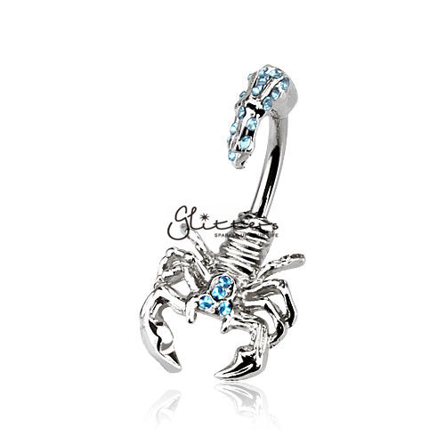 Scorpion with Multi Gemmed Head and Tail Belly Button Ring-Aqua-Glitters-New Zealand