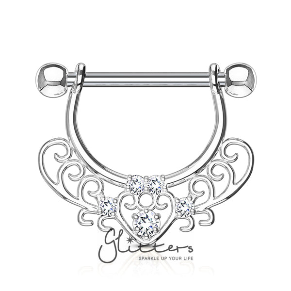Heart Cubic Zirconia Filigree Dangle Surgical Steel Nipple Rings-Glitters