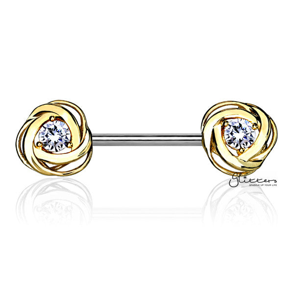 316L Surgical Steel Nipple Barbell Rings with CZ Centered Rose Blossom - Gold-Glitters-New Zealand