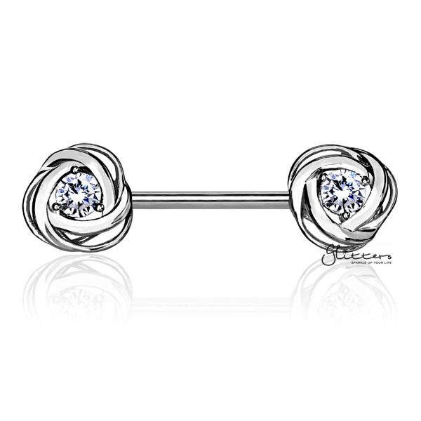 316L Surgical Steel Nipple Barbell Rings with CZ Centered Rose Blossom - Silver-Glitters-New Zealand