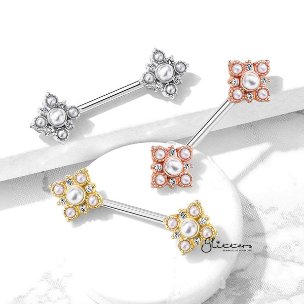 Pearl and Crystal Paved Gold Plated Vintage Square Flower Nipple Barbells-Glitters-New Zealand