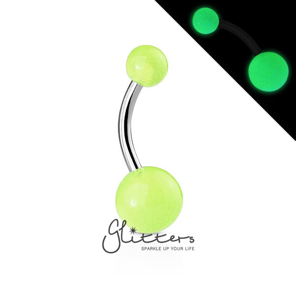Green Glow In The Dark Balls Belly Button Ring-Glitters-New Zealand