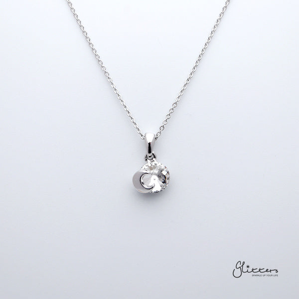 Sparkling Circle Crystal with Moon Pendant Necklace