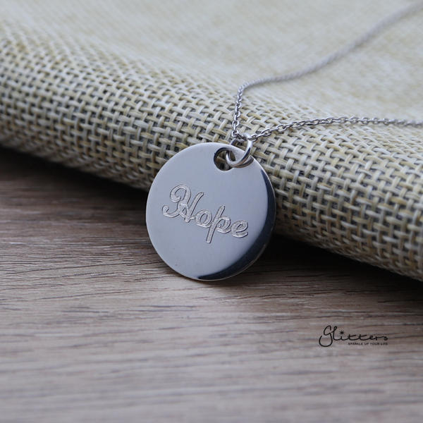 Personalized Sterling Silver Round Disc Name Necklace - Medium-Glitters-New Zealand