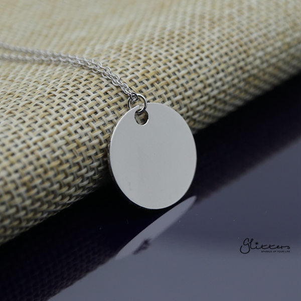 Sterling Silver 20mm Round Disc Women's Necklace