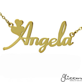 Personalized 24K Gold Plated Sterling Silver Name Necklace-Script 4-Glitters
