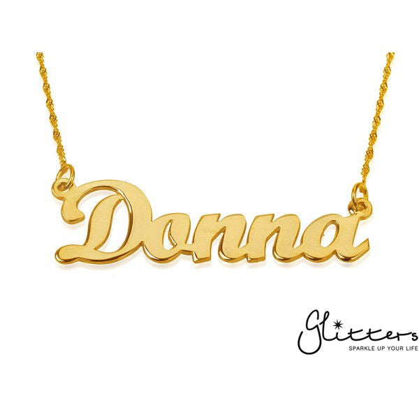 Personalized 24K Gold Plated Sterling Silver Name Necklace-Script 5-Glitters-New Zealand