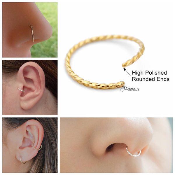 Twisted Surgical Steel Rounded Ends Bendable Nose Hoop Rings - Gold - Glitters-New Zealand