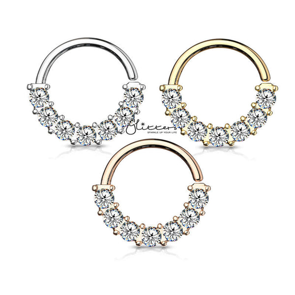 Surgical Steel 7 Gem Front Facing Set Bendable Hoop Rings-Silver | Gold | Rose Gold-Glitters-New Zealand