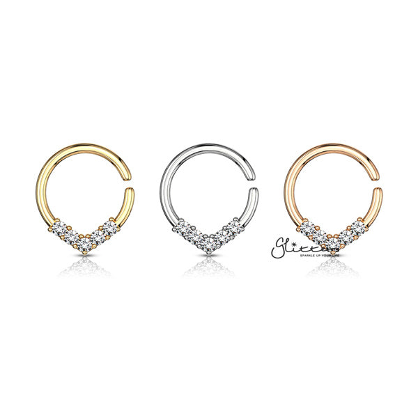 5 CZ Set V Shaped on Round Bendable Rings - Silver | Gold | Rose Gold-Glitters-New Zealand