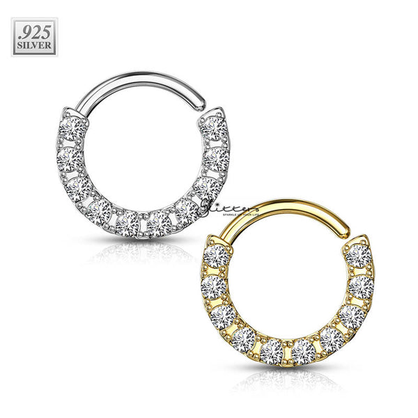 .925 Sterling Silver Bendable Hoop Ring With 10 Lined CZ - Silver | Gold