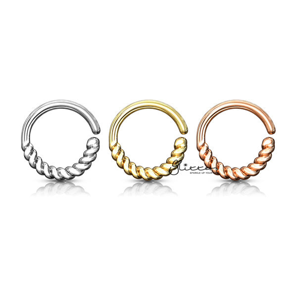 Half Circle Braided Bendable Hoop Rings for Septum, Ear Cartilage, Daith and More