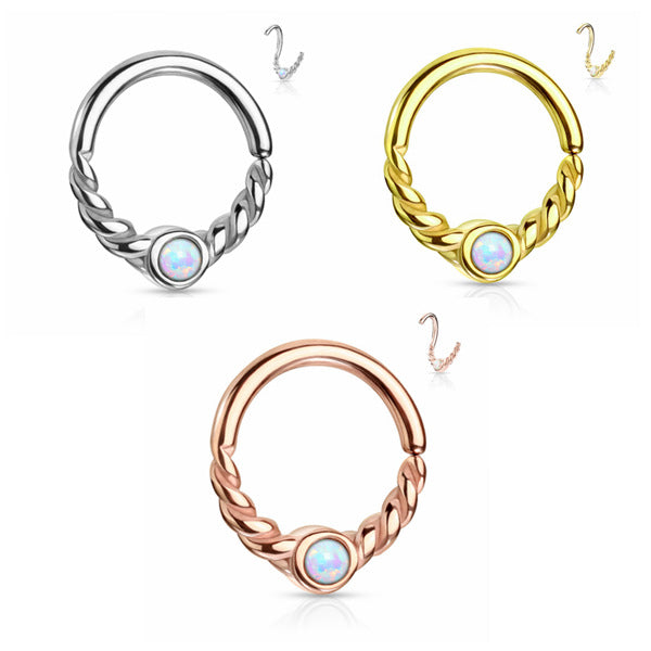Opal Centered Braided Half Circle Bendable Segment Rings - Silver | Gold | Rose Gold