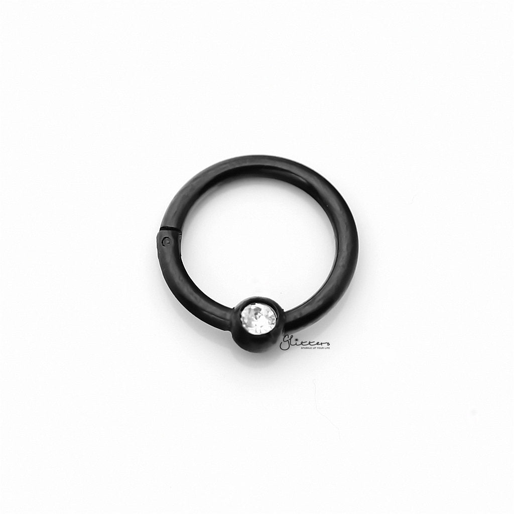 Surgical Steel Hinged Segment Hoop Ring with Clear Gem Ball - Black-Septum Ring-Glitters