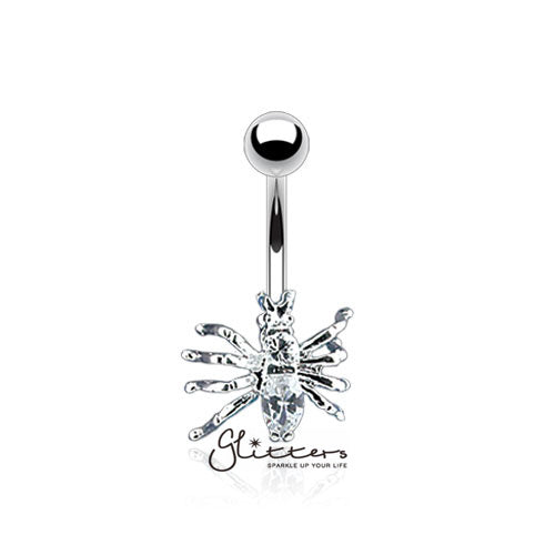 316L Surgical Steel Cubic Zirconia Spider Belly Button Ring-Clear-Glitters-New Zealand