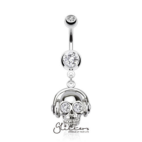 316L Surgical Steel Headset Skull with Cubic Zirconia Eyes Dangle Belly Ring-Clear-Glitters-New Zealand
