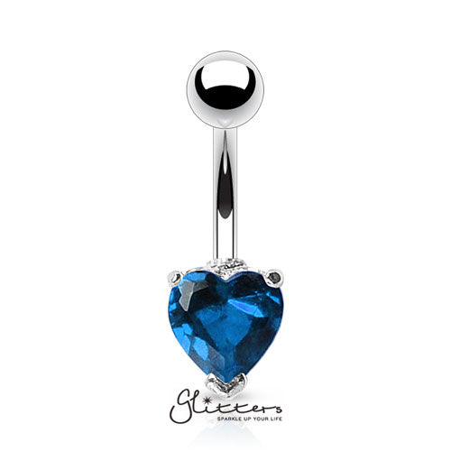 316L Surgical Steel Prong Set Solitaire Heart Cubic Zirconia Belly Ring-Blue-Glitters-New Zealand