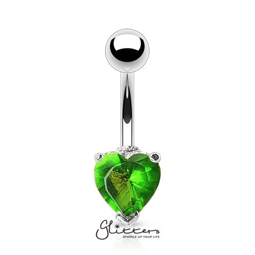 316L Surgical Steel Prong Set Solitaire Heart Cubic Zirconia Belly Ring-Green-Glitters-New Zealand