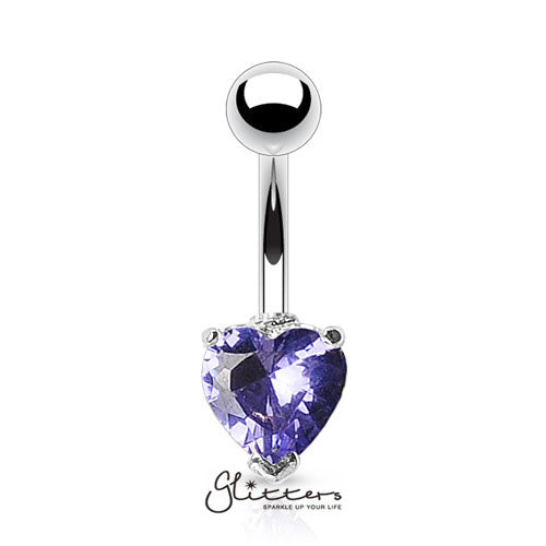 316L Surgical Steel Prong Set Solitaire Heart Cubic Zirconia Belly Ring-Tanzanite-Glitters-New Zealand