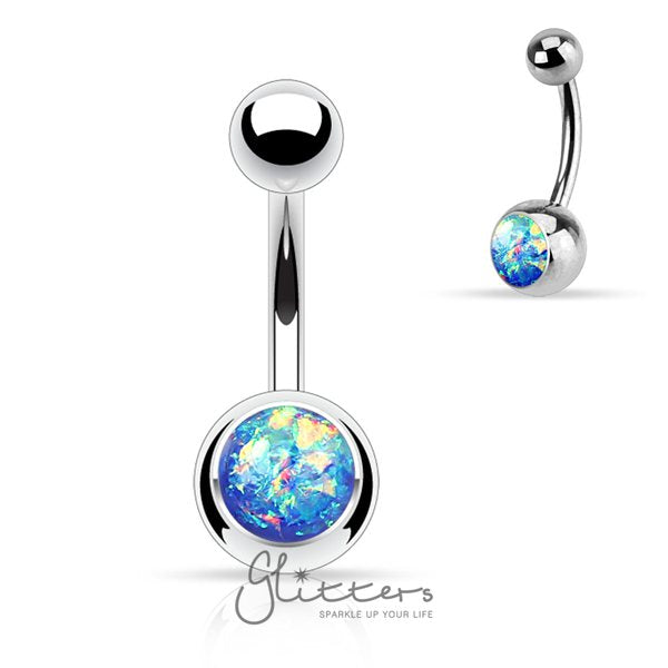 Blue Opal Glitter Set 316l Surgical Steel Belly Button Ring