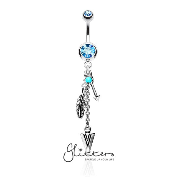 Turquoise and Triabal Feather and Arrows Dangle Double Gem Surgical Steel Belly Ring-Glitters-New Zealand