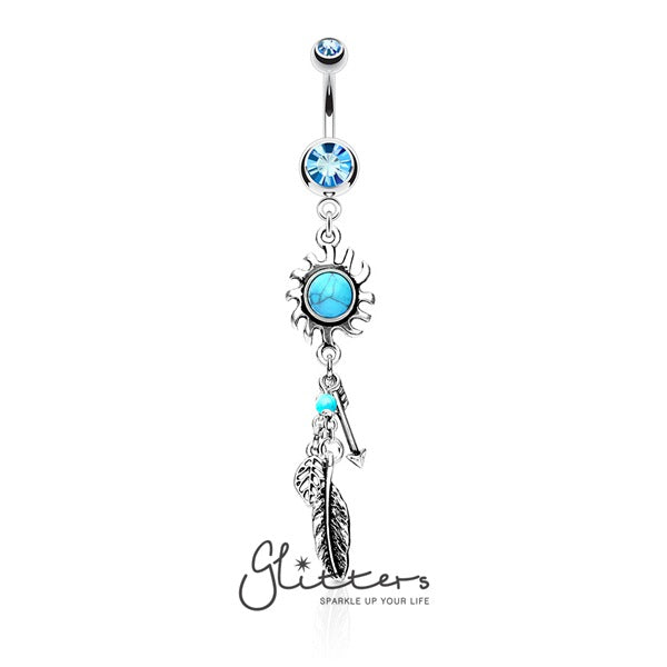 Turquoise Centered Tribal Sun with Feather and Arrows Dangle Double Gem Belly Ring-Glitters