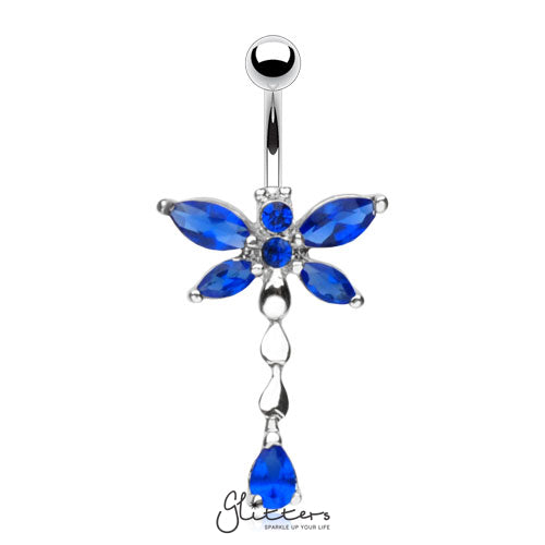 316L Surgical Steel Cubic Zirconia Dragonfly Dangle Belly Ring-Blue-Glitters-New Zealand