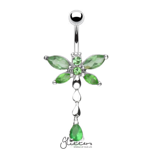 316L Surgical Steel Cubic Zirconia Dragonfly Dangle Belly Ring-Green-Glitters-New Zealand