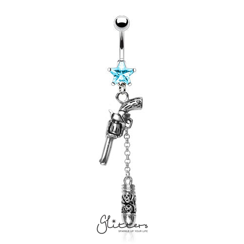Surgical Steel Cubic Zirconia Star with Gun & Bullet Dangle Belly Ring-Aqua-Glitters