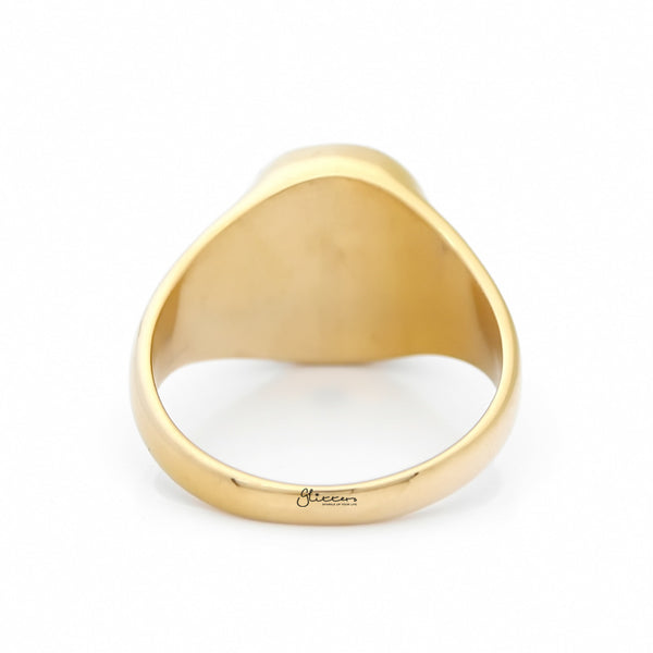 Stainless Steel Oval Signet Blank Plain Ring - Gold-Ring-Glitters