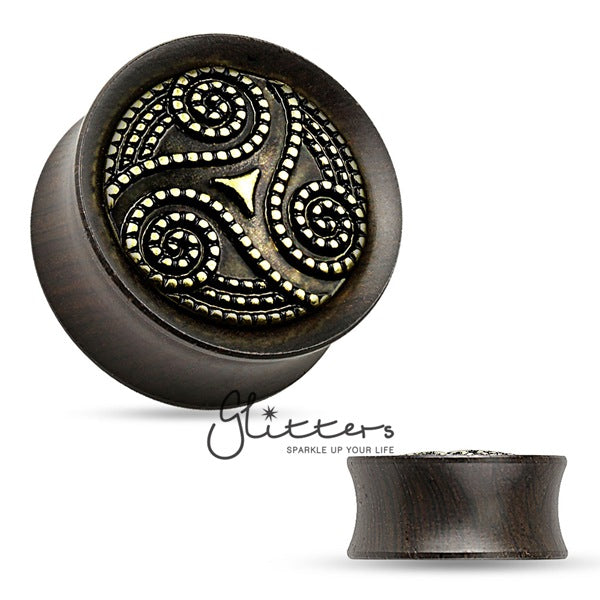 Dotted Tribal Swirl Ebony Wood Double Flare Saddle Fit Plug-Glitters-New Zealand