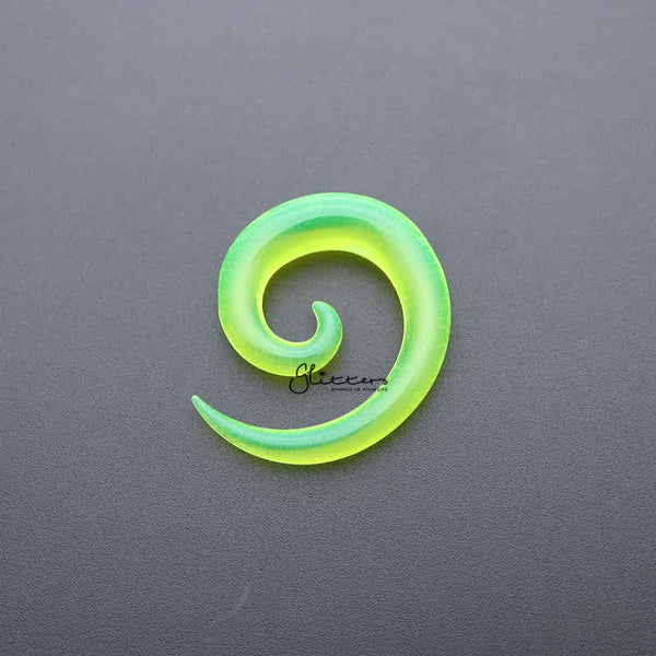 Green Acrylic Ear Spiral Taper Stretcher Plugs-Glitters-New Zealand