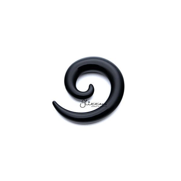 Black Acrylic Ear Spiral Taper Stretcher Plugs-Glitters-New Zealand