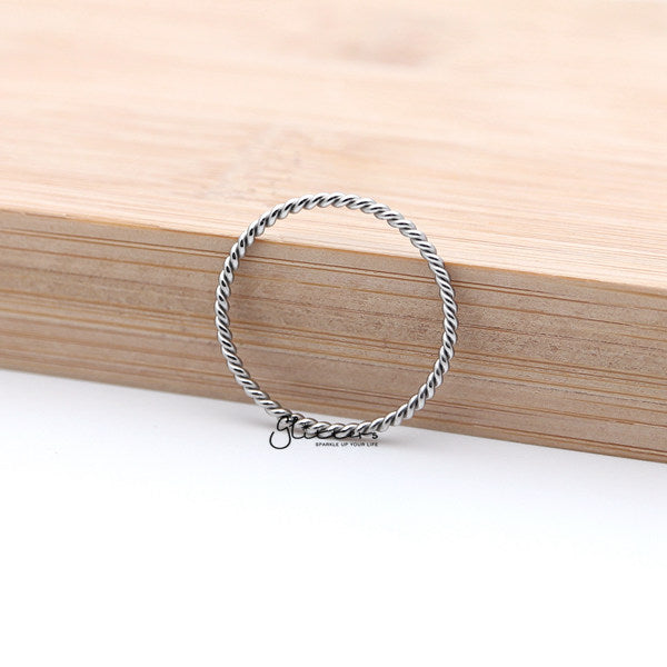 Twisted Stainless Steel Women's Rings - Silver