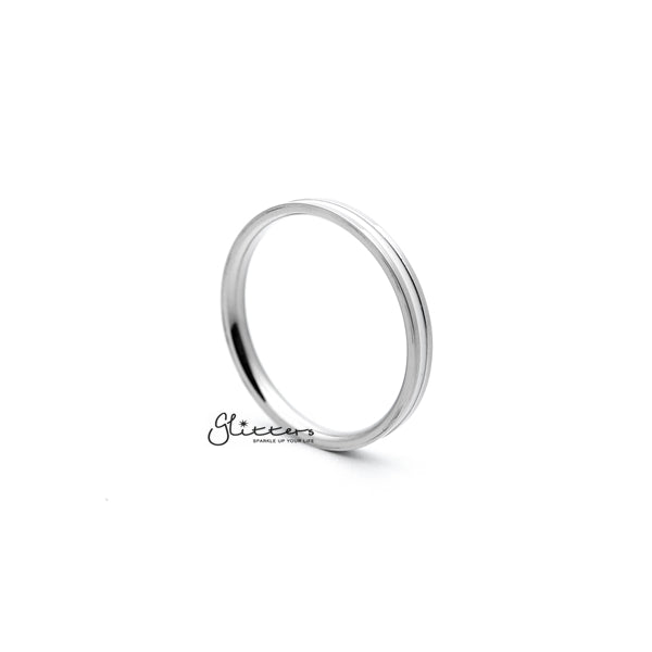 White Enamel Filled Center Stainless Steel Women's Rings
